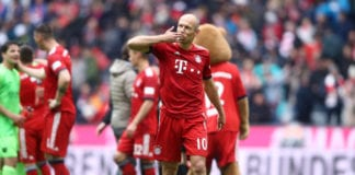 MUNICH, GERMANY - MAY 04: Arjen Robben of Bayern Munich shows appreciation to the fans after the Bundesliga match between FC Bayern Muenchen and Hannover 96 at Allianz Arena on May 04, 2019 in Munich, Germany. (Photo by Alex Grimm/Bongarts/Getty Images)