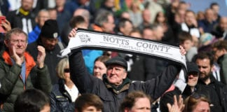 SWINDON, ENGLAND - MAY 04: Notts County fans show their support after the Sky Bet League Two match between Swindon Town and Notts County at County Ground on May 04, 2019 in Swindon, United Kingdom. (Photo by Alex Davidson/Getty Images)