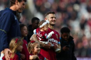 LONDON, ENGLAND - MAY 04: Jack Wilshere of West Ham United is seen with his children during a lap of appreciation after the Premier League match between West Ham United and Southampton FC at London Stadium on May 04, 2019 in London, United Kingdom. (Photo by Dan Istitene/Getty Images)