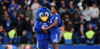 CARDIFF, WALES - MAY 04: Bartley Bluebird, Cardiff City Mascot and Nathaniel Mendez-Laing of Cardiff City look dejected as their team are relegated following the result in the Premier League match between Cardiff City and Crystal Palace at Cardiff City Stadium on May 04, 2019 in Cardiff, United Kingdom. (Photo by Stu Forster/Getty Images)