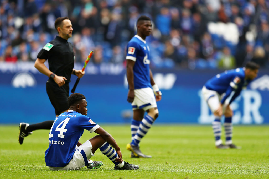 GELSENKIRCHEN, GERMANY - MAY 05: Rabbi Matondo of FC Schalke 04 looks dejected after the Bundesliga match between FC Schalke 04 and FC Augsburg at Veltins-Arena on May 05, 2019 in Gelsenkirchen, Germany. (Photo by Lars Baron/Bongarts/Getty Images)