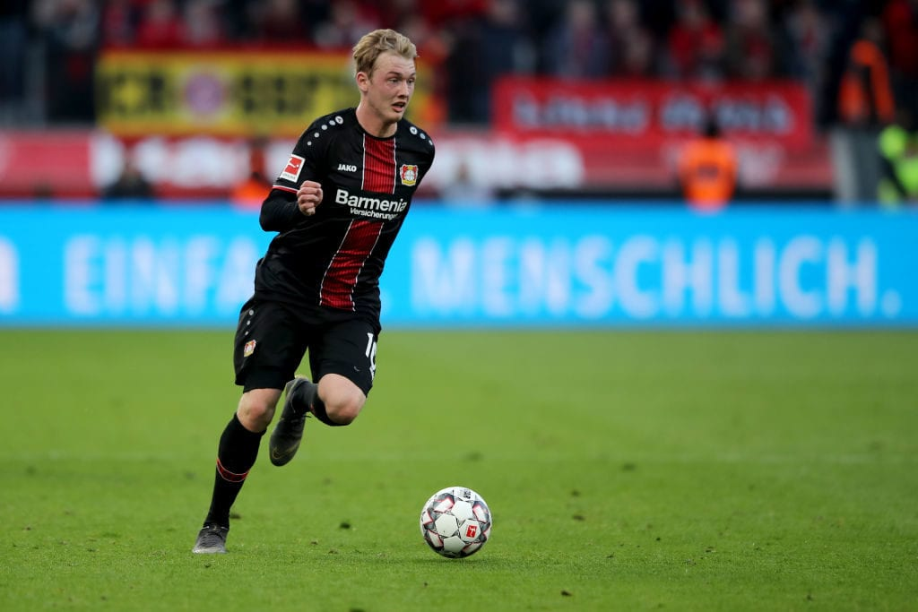 LEVERKUSEN, GERMANY - MAY 05: Julian Brandt of Leverkusen runs with the ball during the Bundesliga match between Bayer 04 Leverkusen and Eintracht Frankfurt at BayArena on May 05, 2019 in Leverkusen, Germany. The match between Leverkusen and Frankfurt ended 6-1. (Photo by Christof Koepsel/Bongarts/Getty Images)