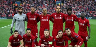 LIVERPOOL, ENGLAND - MAY 07: Liverpool players line up prior to the UEFA Champions League Semi Final second leg match between Liverpool and Barcelona at Anfield on May 07, 2019 in Liverpool, England. (Photo by Clive Brunskill/Getty Images)
