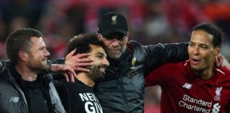 LIVERPOOL, ENGLAND - MAY 07: Jurgen Klopp, Manager of Liverpool, Mohamed Salah of Liverpool and Virgil van Dijk celebrate after the UEFA Champions League Semi Final second leg match between Liverpool and Barcelona at Anfield on May 07, 2019 in Liverpool, England. (Photo by Clive Brunskill/Getty Images)