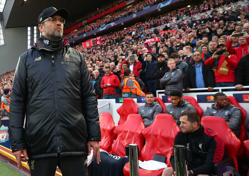 LIVERPOOL, ENGLAND - MAY 07: Jurgen Klopp, Manager of Liverpool on the pitch ahead of the UEFA Champions League Semi Final second leg match between Liverpool and Barcelona at Anfield on May 07, 2019 in Liverpool, England. (Photo by Clive Brunskill/Getty Images)