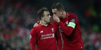 LIVERPOOL, ENGLAND - MAY 07: Liverpool captain Jordan Henderson gives instructions to team mate Xherdan Shaqiri during the UEFA Champions League Semi Final second leg match between Liverpool and Barcelona at Anfield on May 07, 2019 in Liverpool, England. (Photo by Clive Brunskill/Getty Images)