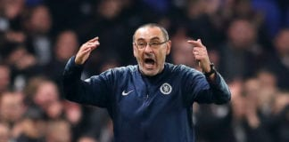 LONDON, ENGLAND - MAY 09: Maurizio Sarri, Manager of Chelsea reacts during the UEFA Europa League Semi Final Second Leg match between Chelsea and Eintracht Frankfurt at Stamford Bridge on May 09, 2019 in London, England. (Photo by Catherine Ivill/Getty Images)