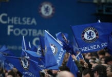 LONDON, ENGLAND - MAY 09: Fans of Chelsea wave their flags during the UEFA Europa League Semi Final Second Leg match between Chelsea and Eintracht Frankfurt at Stamford Bridge on May 09, 2019 in London, England. (Photo by Alex Grimm/Bongarts/Getty Images)