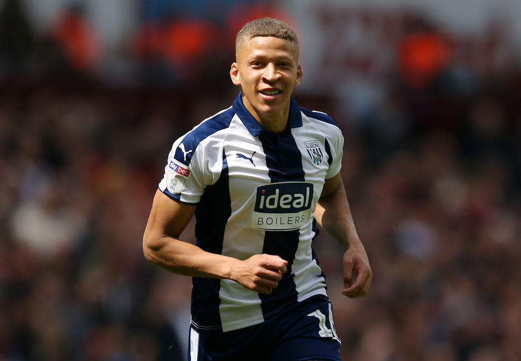 BIRMINGHAM, ENGLAND - MAY 11: Dwight Gayle of West Bromwich Albion celebrates after scoring his team's first goal during the Sky Bet Championship Play-off semi final first leg match between Aston Villa and West Bromwich Albion at Villa Park on May 11, 2019 in Birmingham, England. (Photo by Paul Harding/Getty Images)