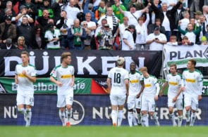NUREMBERG, GERMANY - MAY 11: Denis Zakaria of Borussia Monchengladbach and teammates celebrate after their team's second goal during the Bundesliga match between 1. FC Nuernberg and Borussia Moenchengladbach at Max-Morlock-Stadion on May 11, 2019 in Nuremberg, Germany. (Photo by Sebastian Widmann/Bongarts/Getty Images)