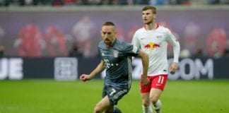LEIPZIG, GERMANY - MAY 11: Franck Ribery (L) of Bayern Muenchen battles for the ball with Timo Werner of Leipzig during the Bundesliga match between RB Leipzig and FC Bayern Muenchen at Red Bull Arena on May 11, 2019 in Leipzig, Germany. (Photo by Alexander Hassenstein/Bongarts/Getty Images)