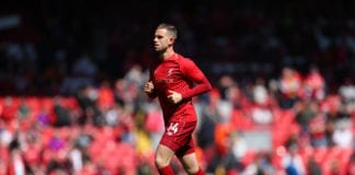 LIVERPOOL, ENGLAND - MAY 12: Jordan Henderson of Liverpool warms up prior to the Premier League match between Liverpool FC and Wolverhampton Wanderers at Anfield on May 12, 2019 in Liverpool, United Kingdom. (Photo by Catherine Ivill/Getty Images)