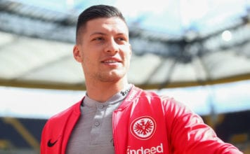 FRANKFURT AM MAIN, GERMANY - MAY 12: Luka Jovic of Eintracht Frankfurt looks on prior to the Bundesliga match between Eintracht Frankfurt and 1. FSV Mainz 05 at Commerzbank-Arena on May 12, 2019 in Frankfurt am Main, Germany. (Photo by Alex Grimm/Bongarts/Getty Images)