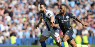 BRIGHTON, ENGLAND - MAY 12: Raheem Sterling of Manchester City battles for possession with Martin Montoya of Brighton and Hove Albion during the Premier League match between Brighton & Hove Albion and Manchester City at American Express Community Stadium on May 12, 2019 in Brighton, United Kingdom. (Photo by Mike Hewitt/Getty Images)