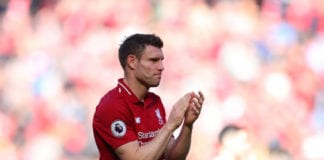 LIVERPOOL, ENGLAND - MAY 12: James Milner of Liverpool acknowledges the fans after the Premier League match between Liverpool FC and Wolverhampton Wanderers at Anfield on May 12, 2019 in Liverpool, United Kingdom. (Photo by Catherine Ivill/Getty Images)