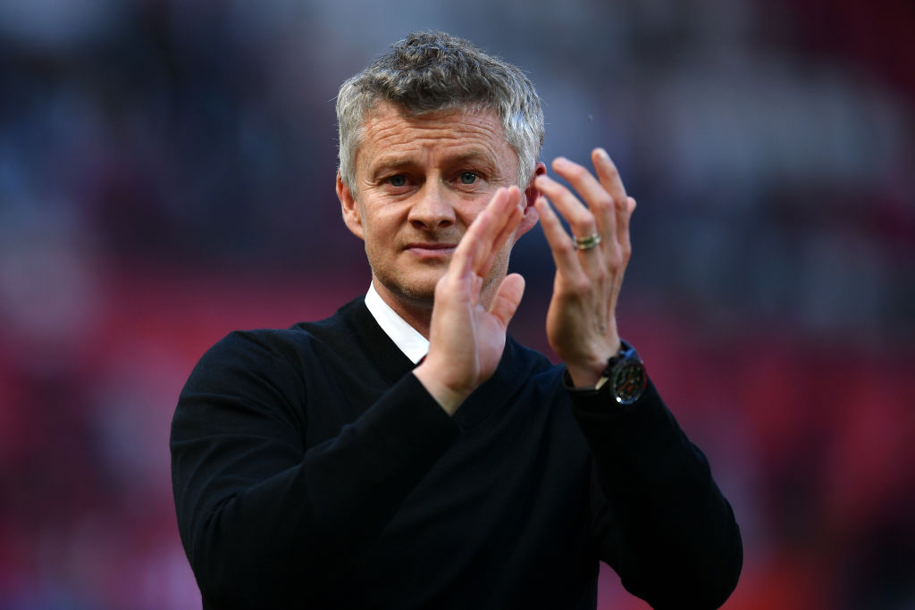 MANCHESTER, ENGLAND - MAY 12: Ole Gunnar Solskjaer, Manager of Manchester United acknowledges the fans following his side's defeat during the Premier League match between Manchester United and Cardiff City at Old Trafford on May 12, 2019 in Manchester, United Kingdom. (Photo by Dan Mullan/Getty Images)