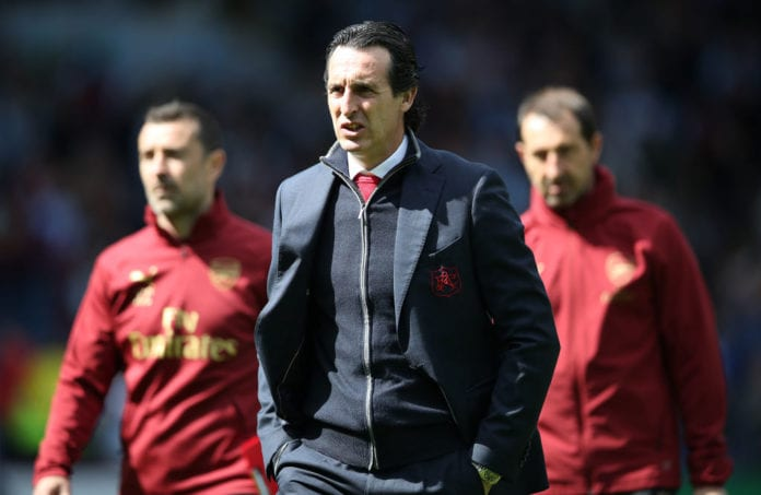 BURNLEY, ENGLAND - MAY 12: Arsenal manager Unai Emery is seen during the Premier League match between Burnley FC and Arsenal FC at Turf Moor on May 12, 2019 in Burnley, United Kingdom. (Photo by Ian MacNicol/Getty Images)