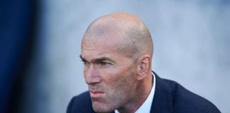 SAN SEBASTIAN, SPAIN - MAY 12: Head coach Zinedine Zidane of Real Madrid CF looks on prior to the start the La Liga match between Real Sociedad and Real Madrid CF at Estadio Anoeta on May 12, 2019 in San Sebastian, Spain. (Photo by Juan Manuel Serrano Arce/Getty Images)
