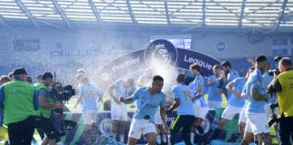 BRIGHTON, ENGLAND - MAY 12: Gabriel Jesus of Manchester City celebrates after winning the Premier League Title following the match between Brighton & Hove Albion and Manchester City at American Express Community Stadium on May 12, 2019 in Brighton, United Kingdom. (Photo by Shaun Botterill/Getty Images)