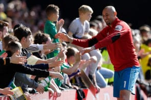 WATFORD, ENGLAND - MAY 12: Heurelho Gomes of Watford FC meets the crowd at the end of the Premier League match between Watford FC and West Ham United at Vicarage Road on May 12, 2019 in Watford, United Kingdom. (Photo by Henry Browne/Getty Images)