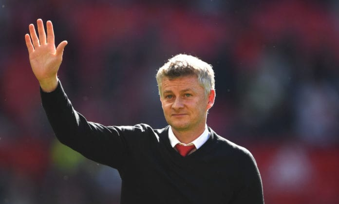 MANCHESTER, ENGLAND - MAY 12: United manager Ole Gunnar Solskjaer waves to the crowd after the Premier League match between Manchester United and Cardiff City at Old Trafford on May 12, 2019 in Manchester, United Kingdom. (Photo by Stu Forster/Getty Images)