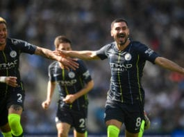 BRIGHTON, ENGLAND - MAY 12: Ilkay Gundogan celebrates with Kyle Walker after scoring a goal during the Premier League match between Brighton & Hove Albion and Manchester City at American Express Community Stadium on May 12, 2019 in Brighton, United Kingdom. (Photo by Michael Regan/Getty Images)