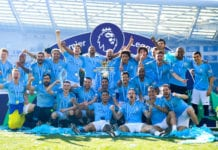BRIGHTON, ENGLAND - MAY 12: Manchester City pose with the Premier League trophy after the Premier League match between Brighton & Hove Albion and Manchester City at American Express Community Stadium on May 12, 2019 in Brighton, United Kingdom. (Photo by Michael Regan/Getty Images)