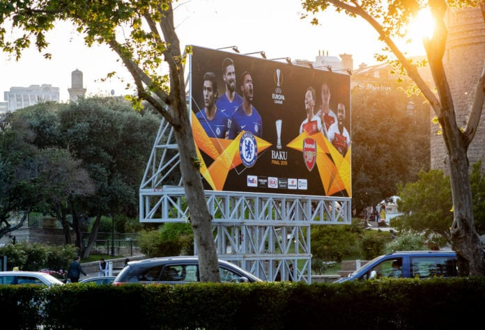 BAKU, AZERBAIJAN - MAY 13: A Billboard for the UEFA Europa League Final 2019 between Chelsea FC and Arsenal FC is seen on May 13, 2019 in Baku, Azerbaijan. (Photo by Thomas Eisenhuth/Getty Images)