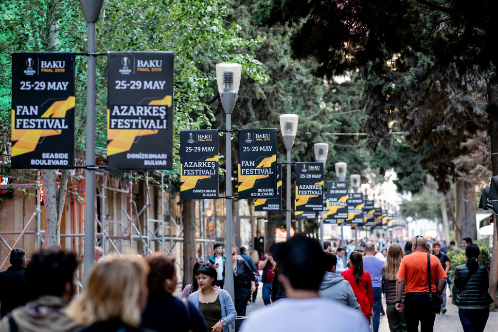 BAKU, AZERBAIJAN - MAY 13: Poster ads for the UEFA Europa League Final 2019 between Chelsea FC and Arsenal FC and for the Fan Festival are seen on May 13, 2019 in Baku, Azerbaijan. (Photo by Thomas Eisenhuth/Getty Images)