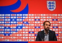LONDON, ENGLAND - MAY 16: England manager Gareth Southgate attends a press conference to announce the England squad for the UEFA Nations League matches at Wembley Stadium on May 16, 2019 in London, England. (Photo by Andrew Redington/Getty Images)