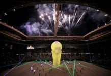 AL WAKRAH, QATAR - MAY 16: A general view of the opening ceremony ahead of the Amir Cup final match between Al Duhail and Al Sadd at Al Wakrah Stadium on May 16, 2019 in Al Wakrah, Qatar. Qatar's Supreme Committee for Delivery & Legacy launches Al Wakrah Stadium, the second FIFA World Cup Qatar 2022 (TM) venue. (Photo by Christopher Pike/Getty Images for The 2022 Supreme Committee for Delivery and Legacy)
