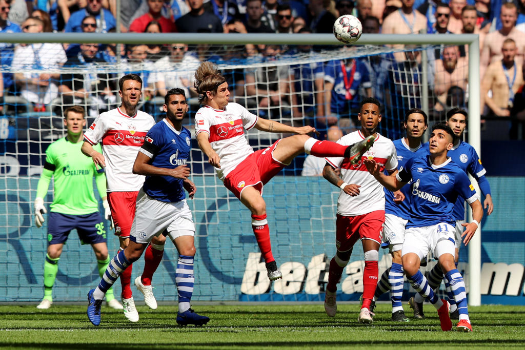 GELSENKIRCHEN, GERMANY - MAY 18: Borna Sosa of Stuttgartn kicks the ball during the Bundesliga match between FC Schalke 04 and VfB Stuttgart at Veltins-Arena on May 18, 2019 in Gelsenkirchen, Germany. (Photo by Christof Koepsel/Bongarts/Getty Images)