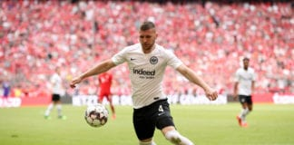 MUNICH, GERMANY - MAY 18: Ante Rebic of Eintracht Frankfurt controls the ball during the Bundesliga match between FC Bayern Muenchen and Eintracht Frankfurt at Allianz Arena on May 18, 2019 in Munich, Germany. (Photo by Adam Pretty/Bongarts/Getty Images)