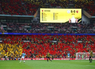 LONDON, ENGLAND - MAY 18: General view inside the stadium as Watford fans wave flags during the FA Cup Final match between Manchester City and Watford at Wembley Stadium on May 18, 2019 in London, England. (Photo by Julian Finney/Getty Images)