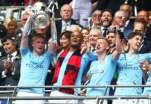 LONDON, ENGLAND - MAY 18: Kevin De Bruyne of Manchester City lifts the trophy following the FA Cup Final match between Manchester City and Watford at Wembley Stadium on May 18, 2019 in London, England. (Photo by Julian Finney/Getty Images)