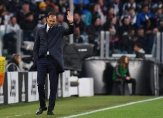 TURIN, ITALY - MAY 19: Head coach Massimiliano Allegri of Juventus greets supporters during the Serie A match between Juventus and Atalanta BC on May 19, 2019 in Turin, Italy. (Photo by Tullio M. Puglia/Getty Images)