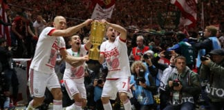 BERLIN, GERMANY - MAY 25: Arjen Robben, Rafinha, and Franck Ribery of Bayern Munich celebrate with the DFB Pokal following their last game for Bayern Munich, and their victory in the DFB Cup final between RB Leipzig and Bayern Muenchen at Olympiastadion on May 25, 2019 in Berlin, Germany. (Photo by Maja Hitij/Bongarts/Getty Images)