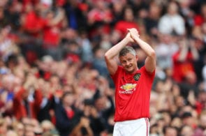 MANCHESTER, ENGLAND - MAY 26: Ole Gunnar Solskjaer of Manchester United '99 Legends is replaced by Teddy Sheringham of Manchester United '99 Legends during the Manchester United '99 Legends and FC Bayern Legends match at Old Trafford on May 26, 2019 in Manchester, England. (Photo by Matthew Lewis/Getty Images)