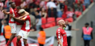 LONDON, ENGLAND - MAY 26: Jonathan Williams of Charlton Athletic celebrates at the final whistle during the Sky Bet League One Play-off Final match between Charlton Athletic and Sunderland at Wembley Stadium on May 26, 2019 in London, United Kingdom. (Photo by James Chance/Getty Images)