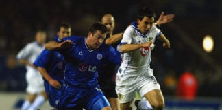 LEICESTER - FEBRUARY 17: Svetoslav Todorov of Portsmouth skips past Gerry Taggart of Leicester City during the Nationwide League Division One match between Leicester City and Portsmouth held on February 17, 2003 at Walkers Stadium in Leicester, England. The match ended in a 1-1 draw. (Photo byBen Radford/Getty Images)
