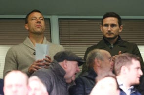 LONDON, ENGLAND - APRIL 26: Frank Lampard and John Terry look on during the FA Youth Cup Final, second leg between Chelsea and Mancherster City at Stamford Bridge on April 26, 2017 in London, England. (Photo by Steve Bardens/Getty Images)