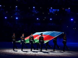 BAKU, AZERBAIJAN - MAY 22: The Azerbaijan flag is paraded into the stadium during the closing ceremony of Baku 2017 - 4th Islamic Solidarity Games at the Olympic Stadium on May 22, 2017 in Baku, Azerbaijan. (Photo by Dan Mullan/Getty Images)