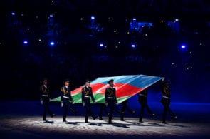 BAKU, AZERBAIJAN - MAY 22: The Azerbaijan flag is paraded into the stadium during the closing ceremony of Baku 2017 - 4th Islamic Solidarity Games at the Olympic Stadium on May 22, 2017 in Baku, Azerbaijan. (Photo by Dan Mullan/Getty Images)