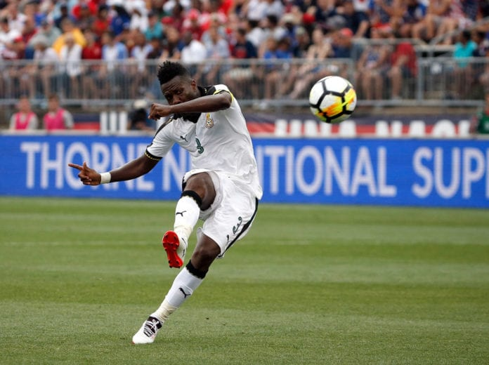 EAST HARTFORD, CT - JULY 01: Asamoah Gyan #3 of Ghana scores a goal against the United States defends in the second half during an international friendly between USA and Ghana at Pratt & Whitney Stadium on July 1, 2017 in East Hartford, Connecticut. (Photo by Jim Rogash/Getty Images)