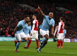 LONDON, ENGLAND - FEBRUARY 25: Vincent Kompany of Manchester City celebrates after scoring his sides second goal during the Carabao Cup Final between Arsenal and Manchester City at Wembley Stadium on February 25, 2018 in London, England. (Photo by Catherine Ivill/Getty Images)