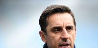 MANCHESTER, ENGLAND - MARCH 04: Sky Sports pundit Gary Neville looks on prior to the Premier League match between Manchester City and Chelsea at Etihad Stadium on March 4, 2018 in Manchester, England. (Photo by Laurence Griffiths/Getty Images)