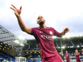LIVERPOOL, ENGLAND - MARCH 31: Vincent Kompany of Manchester City shows appreciation to the fans after the Premier League match between Everton and Manchester City at Goodison Park on March 31, 2018 in Liverpool, England. (Photo by Michael Regan/Getty Images)