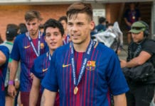 NYON, SWITZERLAND - APRIL 23: #11 Carles Perez of FC Barcelona with medal during the UEFA Youth League Final match between Chelsea FC and FC Barcelona at Colovray Sports Centre on April 23, 2018 in Nyon, Switzerland. (Photo by Monika Majer/Getty Images)