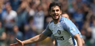 UDINE, ITALY - MAY 06: Andrea Ranocchia of FC Internanzionale reacts during the serie A match between Udinese Calcio and FC Internazionale at Stadio Friuli on May 6, 2018 in Udine, Italy. (Photo by Gabriele Maltinti/Getty Images)