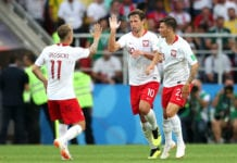 MOSCOW, RUSSIA - JUNE 19: Grzegorz Krychowiak of Poland celebrates with teammates Dawid Kownacki, and Kamil Grosicki after scoring his team's first goal during the 2018 FIFA World Cup Russia group H match between Poland and Senegal at Spartak Stadium on June 19, 2018 in Moscow, Russia. (Photo by Catherine Ivill/Getty Images)